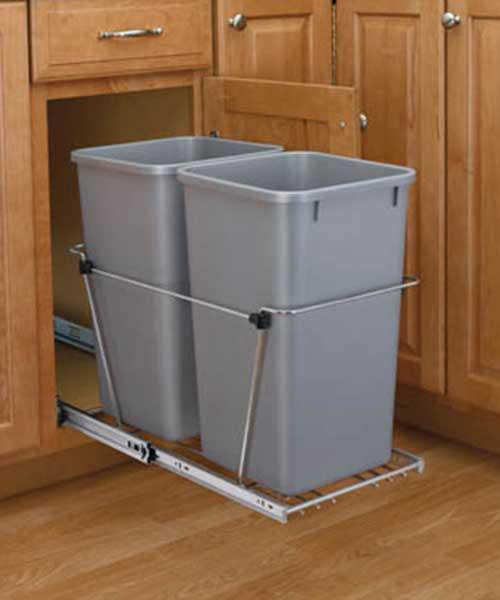 35 QT Silver Double Bin Trash Can Pull Out | Rev-A-Shelf